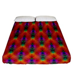 Apophysis Fractal Owl Neon Fitted Sheet (california King Size) by Nexatart