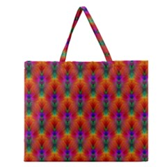 Apophysis Fractal Owl Neon Zipper Large Tote Bag by Nexatart