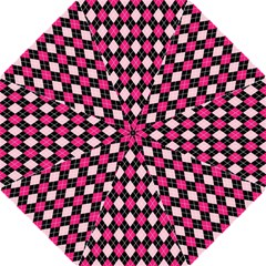 Argyle Pattern Pink Black Hook Handle Umbrellas (medium) by Nexatart