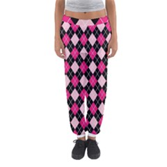 Argyle Pattern Pink Black Women s Jogger Sweatpants by Nexatart