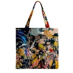 Art Graffiti Abstract Vintage Zipper Grocery Tote Bag by Nexatart