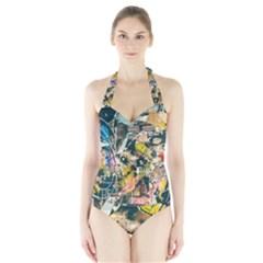 Art Graffiti Abstract Vintage Halter Swimsuit by Nexatart