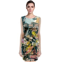 Art Graffiti Abstract Vintage Classic Sleeveless Midi Dress