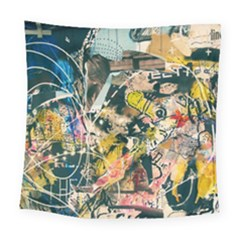 Art Graffiti Abstract Vintage Square Tapestry (large) by Nexatart