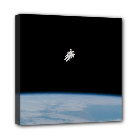 Astronaut Floating Above The Blue Planet Mini Canvas 8  X 8