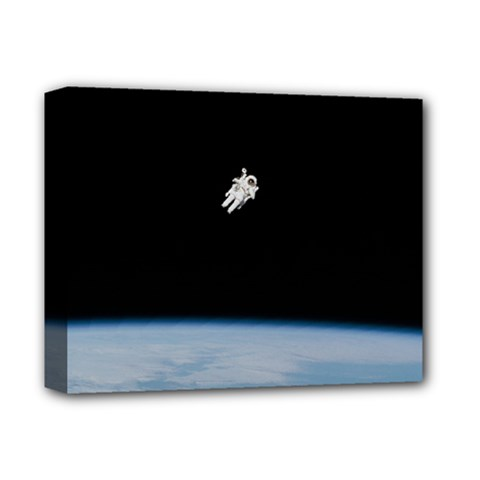 Astronaut Floating Above The Blue Planet Deluxe Canvas 14  X 11  by Nexatart