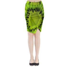 Kiwi Fruit Slices Cut Macro Green Midi Wrap Pencil Skirt by Alisyart