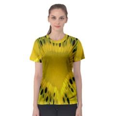 Kiwi Fruit Slices Cut Macro Green Yellow Women s Sport Mesh Tee by Alisyart