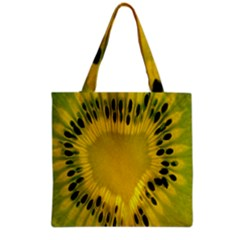 Kiwi Fruit Slices Cut Macro Green Yellow Grocery Tote Bag by Alisyart