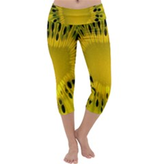 Kiwi Fruit Slices Cut Macro Green Yellow Capri Yoga Leggings by Alisyart
