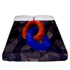 Low Poly Figures Circles Surface Orange Blue Grey Triangle Fitted Sheet (california King Size)