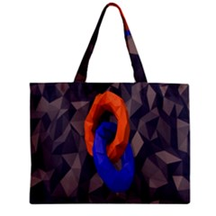 Low Poly Figures Circles Surface Orange Blue Grey Triangle Zipper Mini Tote Bag by Alisyart