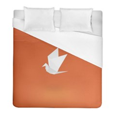 Origami Bird Animals White Orange Duvet Cover (full/ Double Size) by Alisyart