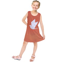 Origami Bird Animals White Orange Kids  Tunic Dress by Alisyart