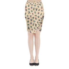 Sweet Succulents Midi Wrap Pencil Skirt by electrogiraffe