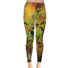 Backdrop Background Tree Abstract Leggings