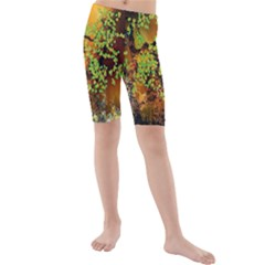 Backdrop Background Tree Abstract Kids  Mid Length Swim Shorts