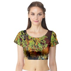 Backdrop Background Tree Abstract Short Sleeve Crop Top (Tight Fit)