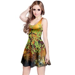 Backdrop Background Tree Abstract Reversible Sleeveless Dress
