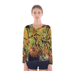 Backdrop Background Tree Abstract Women s Long Sleeve Tee