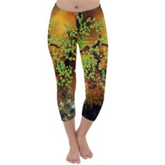 Backdrop Background Tree Abstract Capri Winter Leggings