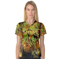 Backdrop Background Tree Abstract Women s V-Neck Sport Mesh Tee