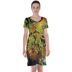 Backdrop Background Tree Abstract Short Sleeve Nightdress