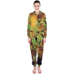 Backdrop Background Tree Abstract Hooded Jumpsuit (Ladies)