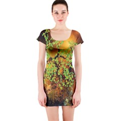 Backdrop Background Tree Abstract Short Sleeve Bodycon Dress