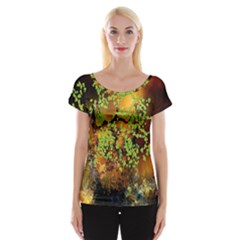 Backdrop Background Tree Abstract Women s Cap Sleeve Top