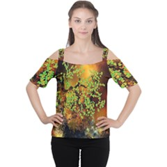 Backdrop Background Tree Abstract Women s Cutout Shoulder Tee