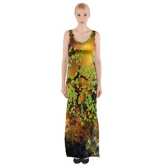 Backdrop Background Tree Abstract Maxi Thigh Split Dress