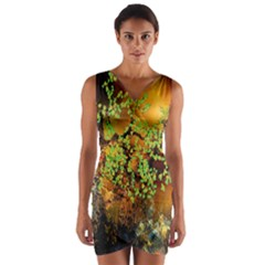 Backdrop Background Tree Abstract Wrap Front Bodycon Dress