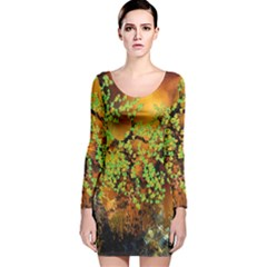 Backdrop Background Tree Abstract Long Sleeve Velvet Bodycon Dress