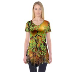 Backdrop Background Tree Abstract Short Sleeve Tunic