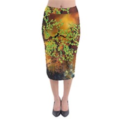 Backdrop Background Tree Abstract Midi Pencil Skirt
