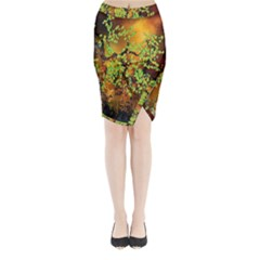 Backdrop Background Tree Abstract Midi Wrap Pencil Skirt