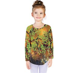 Backdrop Background Tree Abstract Kids  Long Sleeve Tee
