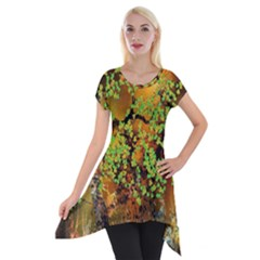 Backdrop Background Tree Abstract Short Sleeve Side Drop Tunic