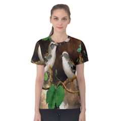 Backdrop Colorful Bird Decoration Women s Cotton Tee