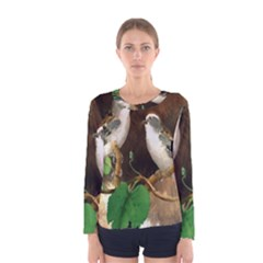 Backdrop Colorful Bird Decoration Women s Long Sleeve Tee