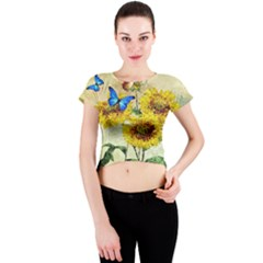 Backdrop Colorful Butterfly Crew Neck Crop Top