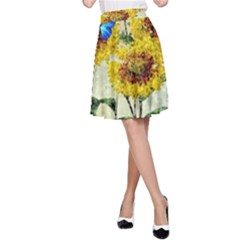 Backdrop Colorful Butterfly A Line Skirt