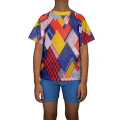 Background Fabric Multicolored Patterns Kids  Short Sleeve Swimwear
