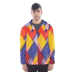 Background Fabric Multicolored Patterns Hooded Wind Breaker (men)