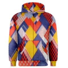 Background Fabric Multicolored Patterns Men s Zipper Hoodie by Nexatart