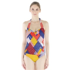 Background Fabric Multicolored Patterns Halter Swimsuit by Nexatart