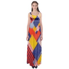 Background Fabric Multicolored Patterns Empire Waist Maxi Dress