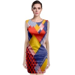 Background Fabric Multicolored Patterns Classic Sleeveless Midi Dress