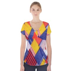 Background Fabric Multicolored Patterns Short Sleeve Front Detail Top